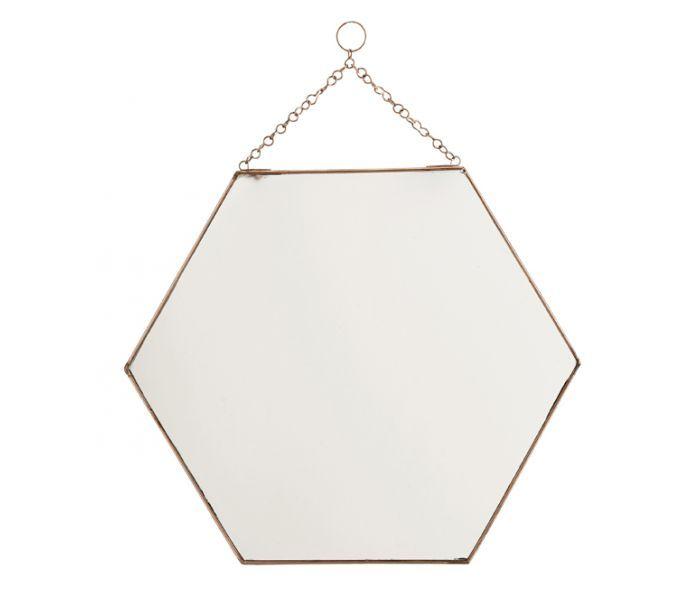 Spiegel 'hexagon' koper -L- Madam Stoltz