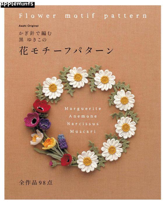 Japanese Craft Crochet Patterns Book - Crochet flowers Trim Edge Pattern - Crochet Necklace Pattern - Crochet RosePattern and more/ A