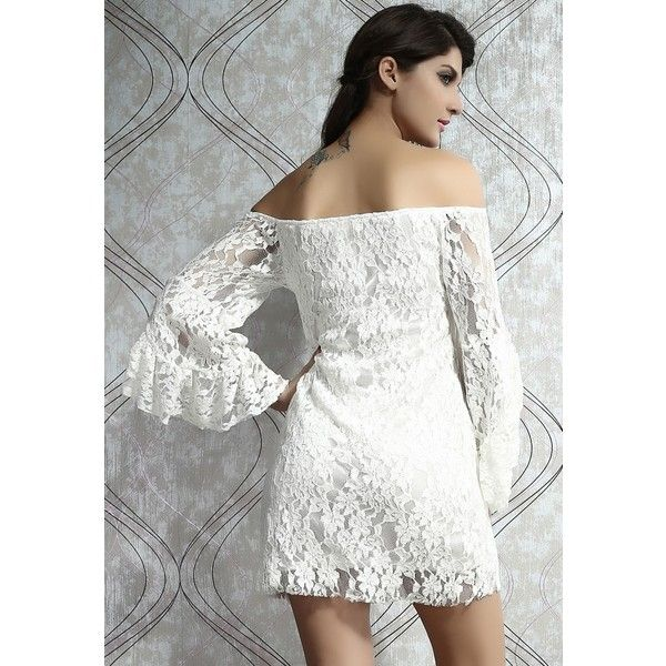 158798c6eb02 Cream Lace Off-The-Shoulder Mini Dress (€16) ❤ liked on Polyvore ...