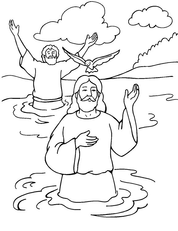 baptism of jesus color page matthew 313 17 first sunday of epiphany