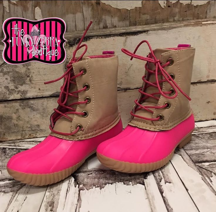 Duck Boot for Kids in Neon Hot Pink Size 12-4