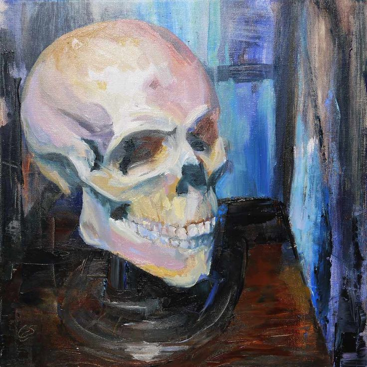 This is not a skull (and as well no pipe ;)) Impressionist #oilpainting in lively colors #art #fineart #contemporary #skull