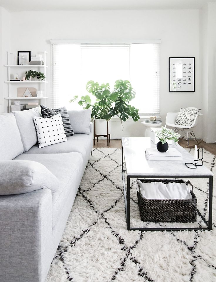 Modern Scandinavian design inspired monochrome living room decor. Sources for everything listed in the post.