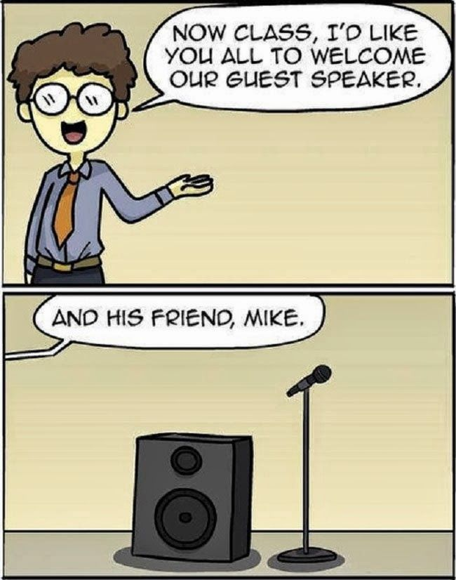 Funny Guest Speaker Mike Pun Cartoon Picture
