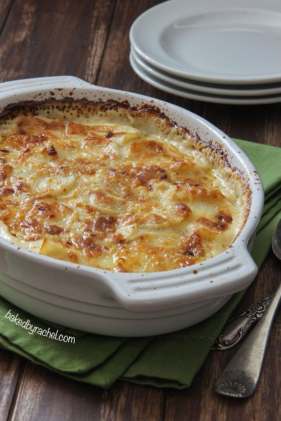 Four Cheese Garlic Scalloped Potatoes | Baked by Rachel Visit Site for Recipe