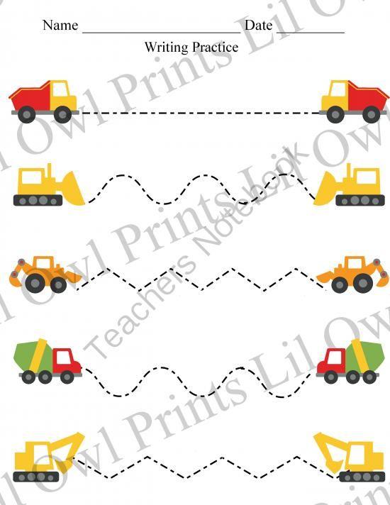 Transportation on Construction Truck Scissor Cutting Sheets Printable