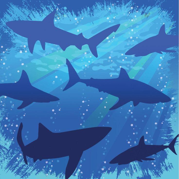 Club Pack of 192 Shark Splash Premium 3-Ply Disposable Party Beverage Napkins 5, Blue