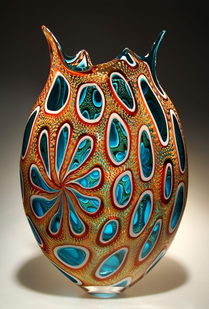 """David Patchen art glass.  Remember, the artist is staring into a """"glory hole"""" of incredible heat, knowing the exact moment to pull his work out and twirl, swing and blow the glass.  Just incredible to me.  I so admire this."""