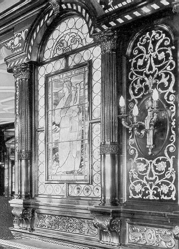 Interior decor in the Titanic. The smoking room, 1912.