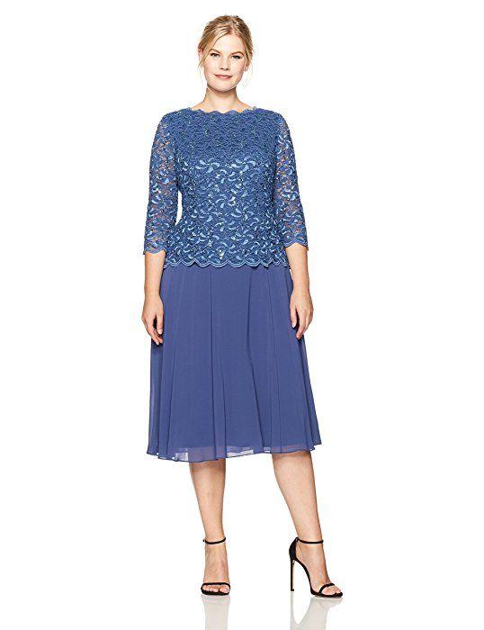 ee0c2e5f190 Alex Evenings Women s Plus Size Tea Length Lace Mock Dress ...