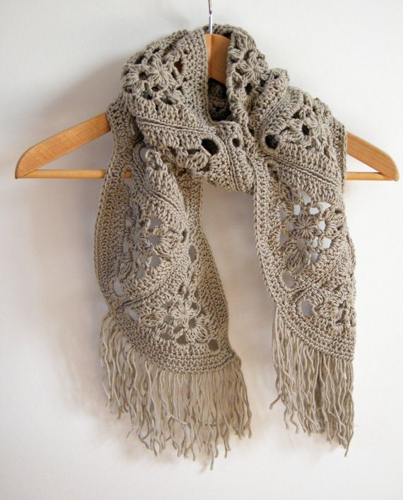 OOAK cashmere scarf crochet by hand ready to by fourlinesandaloop, £45.00