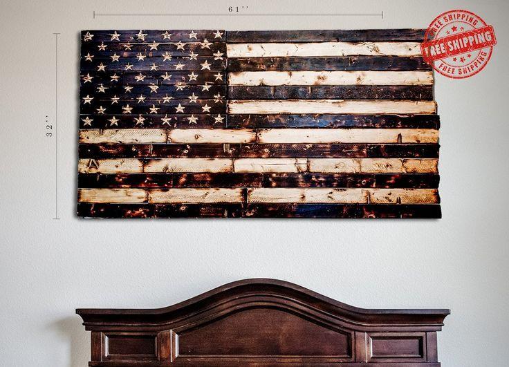 American Flag Rustic Wood Burned Hand Carved Stars