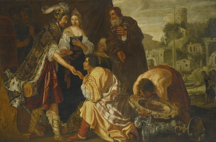 Jan Tengnagel AMSTERDAM CIRCA 1584 - 1631 THE CONTINENCE OF SCIPIO signed and indistinctly dated lower left: JTengnagel / A 161[5?] oil on canvas 108.5 by 164.2 cm.; 42 3/4  by 64 5/8  in: