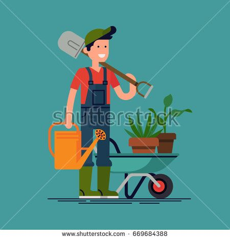 Cool vector gardener character in flat design. Young adult man in blue overalls with shovel, watering can and wheelbarrow ready to work in the garden. Gardening, planting flowers and plants