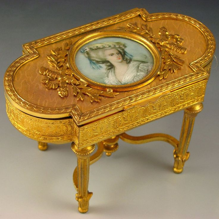 Antique French Napoleon III Era Miniature Portrait Gilt Bronze Figural Jewelry  Box, Table Shape