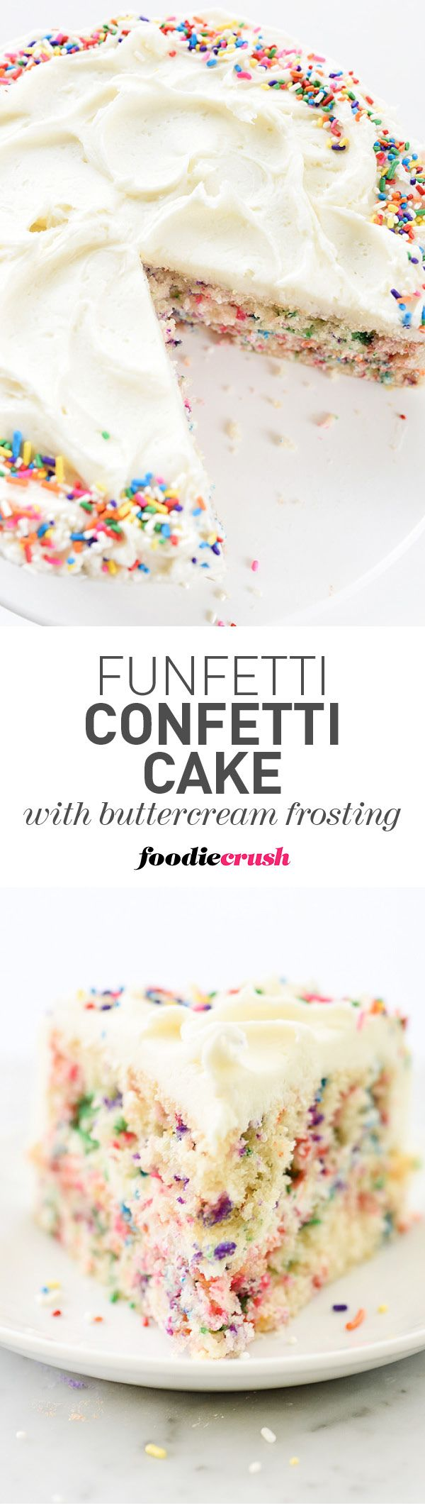 This colorful #funfetti cake has one of the tenderest crumbs I've ever had in a homemade cake and the buttercream frosting simply takes it over the top | foodiecrush.com #cake #sprinkles #funfetti #confetti