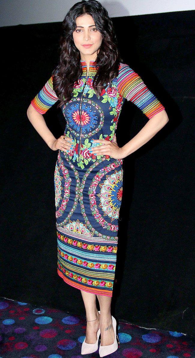 Shruti Haasan promotes 'Gabbar Is Back' in Delhi. #Bollywood #Fashion #Style #Beauty