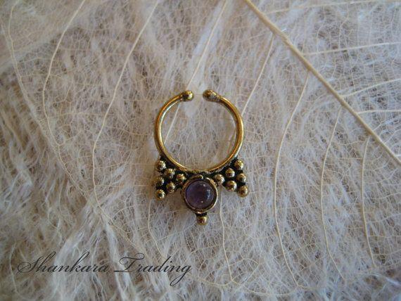 Tribal Septum Ring Fake Nose Ring Faux Piercing door ShankaraTrading