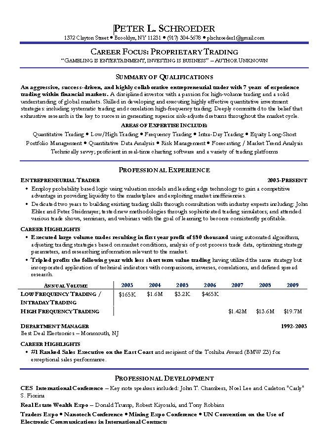 Proprietary Trading Resume Example -   wwwresumecareerinfo - career focus on resume