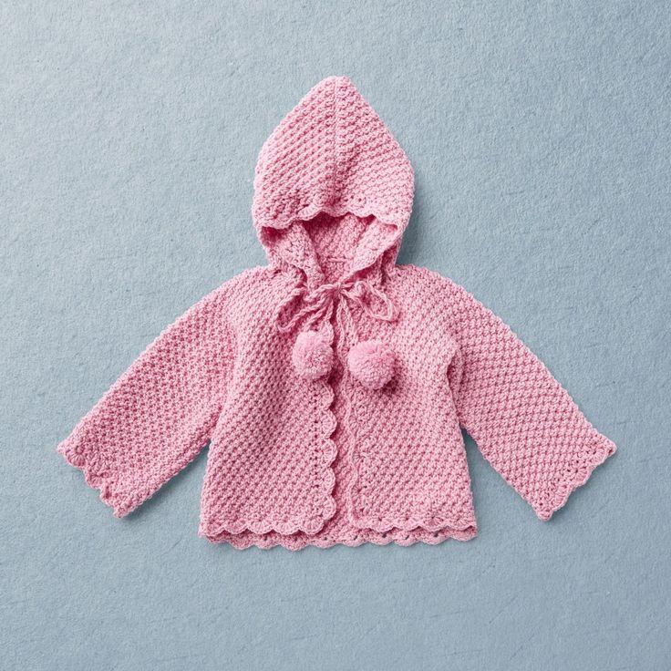 Merino Wool Van Beren baby knit cardigan RAMONA, pink, KNIT KIT