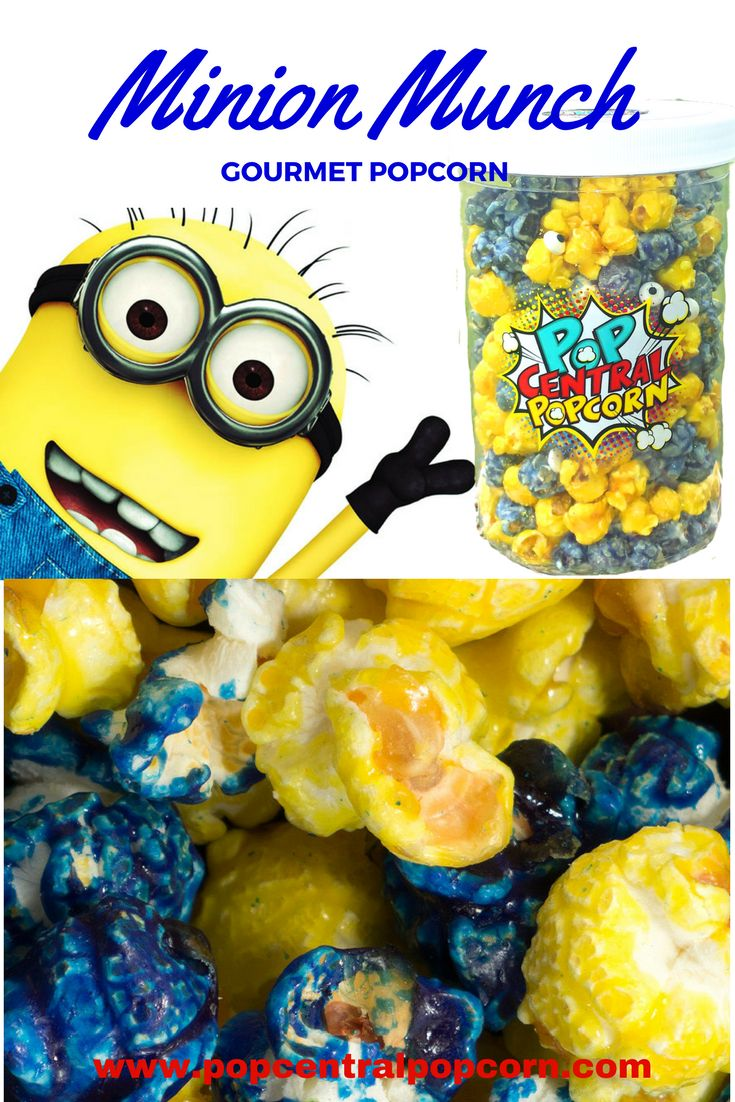 Minion Munch Gourmet Popcorn! The delicious flavor of cake and ice cream in this candied coated popcorn. Buy it at Pop Central Popcorn.