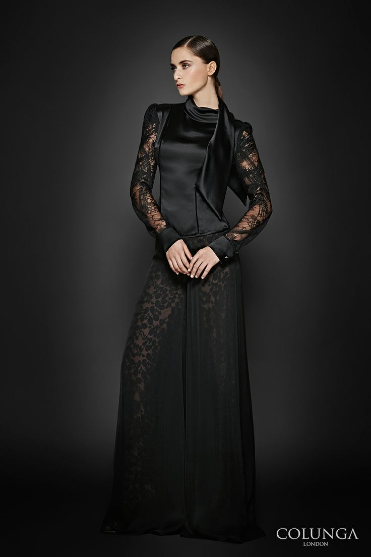 COLUNGA signature look: Françoise-Aubigné. Blouse of Spanish lace and silk satin. Trousers of English lace and pure silk chiffon.