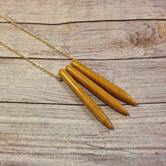 Yellow Spike Necklace Quartz Spike Necklace by shopeverlykate