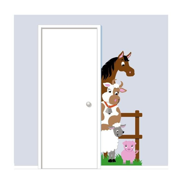 Barnyard Doorhugger Your favorite friends don't take up much space in this barnyard mural, they just peek around the edge of your door to welcome you into the room. This adorable paint by number farm