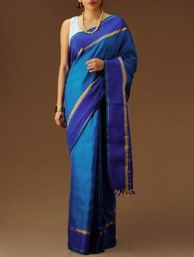 Blue-Turquoise Kanchipuram Silk Saree. This is the one I'm wearing!