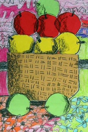 First graders learned the art of shading during this lesson. The apples and basket were done with cut paper and black crayon was used to cast shadows on the basket and apples, creating a round three-dimensional look. First graders were amazed with the technique!