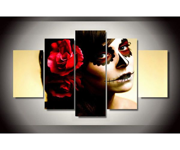 Day of Dead Picture Framed Canvas Wall Art Hanging Cafeteria Florist Lobby#AL072 #Modernism #Face #Framed #Picture #Decor #Wall