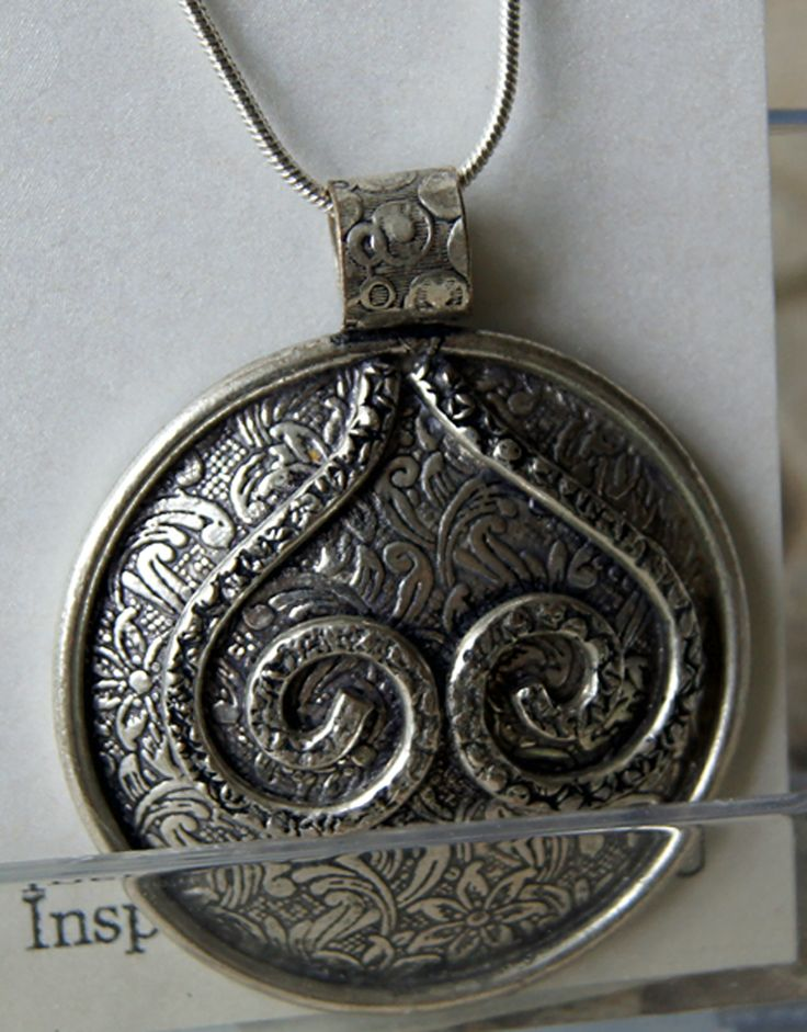 Gaia Shield Double Spiral Heart. Stamped Pendant. https://www.etsy.com/listing/167607455/gaia-pendant-with-sterling-silver-chain?ref=shop_home_active_1