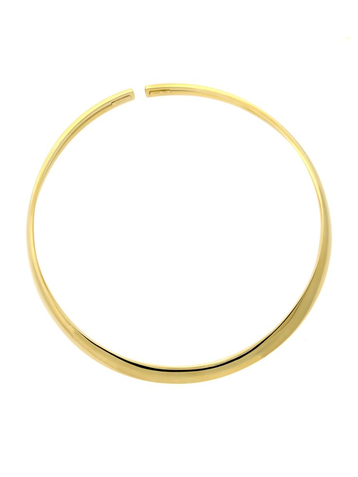 Simply spectacular! From its gleaming 18k Yellow Gold architecture to its smooth, sensual contours, this Hermes Choker Necklace is nothing short of magnificent. With a length up to 16″ and a desirable .35″ width, this is the ultimate statement piece for today's discerning woman. In ages past, one could easily see this piece belonging to a legendary beauty like Cleopatra – but today, it can be yours!