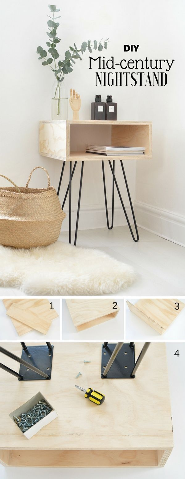 Check out how to make this easy DIY mid-century nightstand DIY Home Decor Ideas …