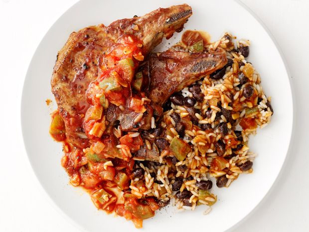 Pork Chops With Rice and Beans recipe from Food Network Kitchen via Food Network