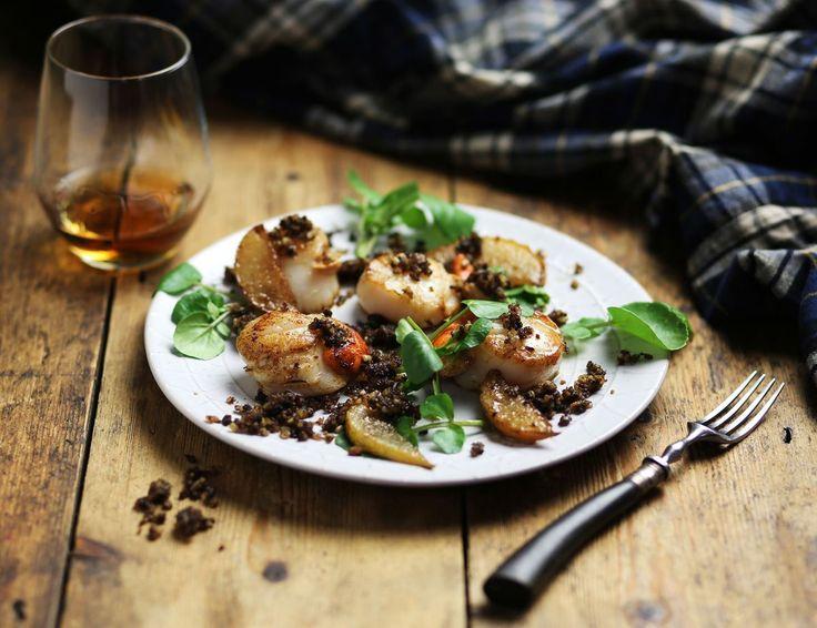 Haggis, Scallops & Fried Pear Recipe | Abel & Cole