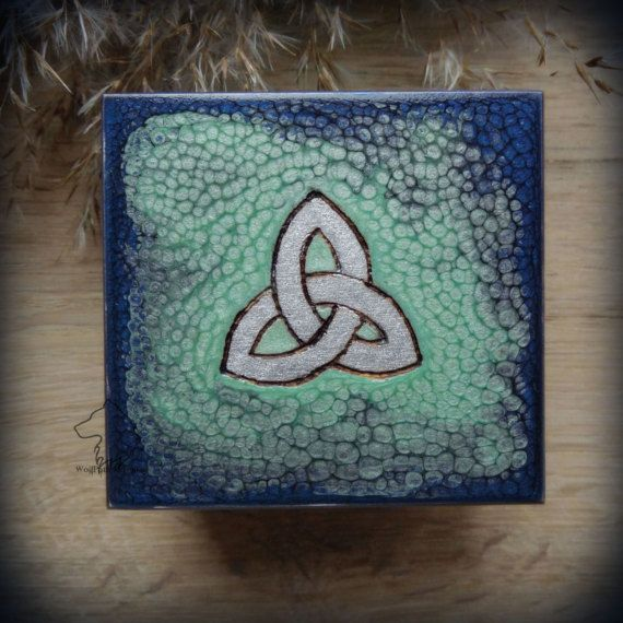 Celtic Triquetra wooden box hand painted jewelry box witch