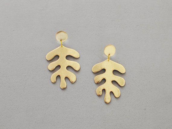 Fatto a mano in pelle oro Matisse ispirato orecchini di BenuMade