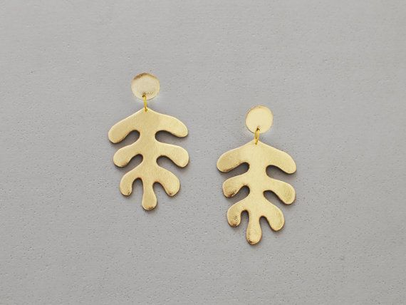 Handmade gold leather Matisse inspired earrings by BenuMade