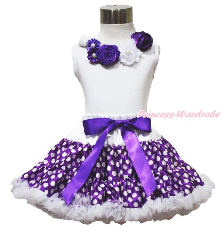 Белый топ старинные сад роз фиолетовый белый горошек юбка девушка в наряд 1-8Year MAPSA0749