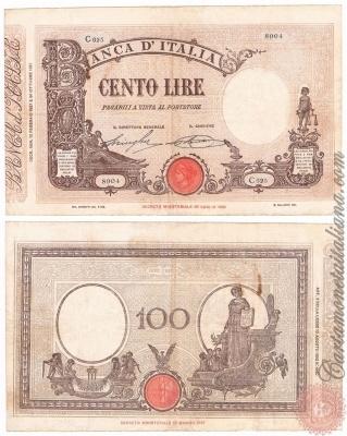 Cartamoneta Italiana .com - Museo Virtuale - : Banca d'Italia – Regno d'Italia - Foto: 100 LIRE - Barbetti con matrice (fascio) - N 14