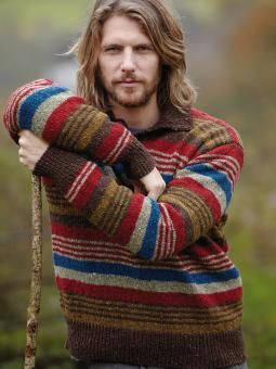 Marash    Knit this mens striped sweater from Rowan Knitting & Crochet Magazine 54, a design by Martin Storey using Rowan Tweed, a traditionally spun tweed yarn (wool). With fold down collar and button detail, this knitting pattern is suitable for the average knitter.