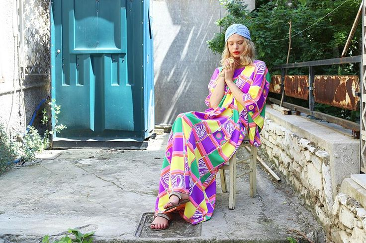 Maxi dress & turban  by Eclectic Soiree @ Panos Kallitsis Salon