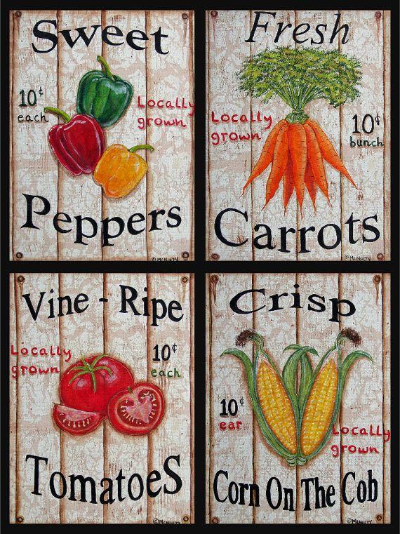 Set Of 4 Quot Distressed Quot Or Quot Original Quot Vegetable Sign Quot Prints