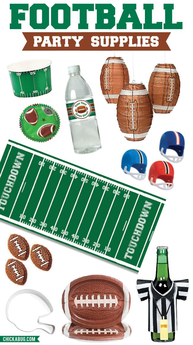 Football party supplies - fun decorations for a tailgate, game day party, the Super Bowl, or a football theme birthday party! Dr. Broom, pediatric dentist in Gulfport & Ocean Springs, MS @ www.drbroom.com