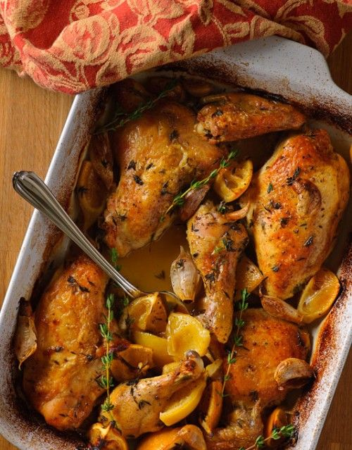 Slow Roast Chicken with Lemon and Garlic