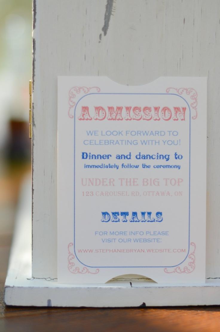 carnival wedding invitation, admission card with reception info designsbymcs.wix.com/invitations