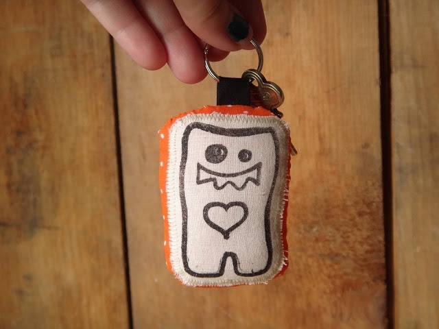 Kira's Crafty Life Blog: Whats-On-My-Worktable Wednesday: Rubber-Stamped Fabric Keychain #KiraArts #handmade #RNEST #Etsy #monster