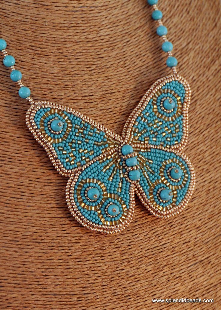 #BeadEmbroidery Necklace - #Turquoise and Gold - #Handmade - Bead Embroidered - Butterfly Necklace - Splendid Beads #Etsy #Jewelry #Fashion