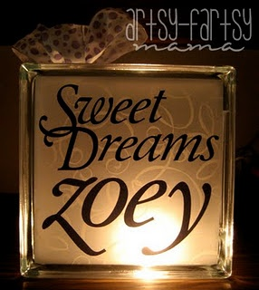 Glass Block Night Light ...nicely personalized, too...Sweet Dreams
